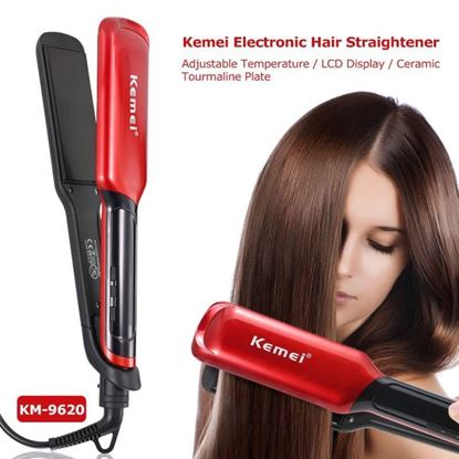 Εικόνα της KEMEI KM 9620 Ισιωτική Μαλλιών με Ψηφιακές ενδείξεις και φαρδιές κεραμικές πλάκες